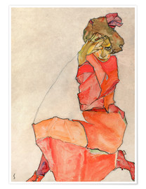 Poster  Kneeling woman in red dress - Egon Schiele