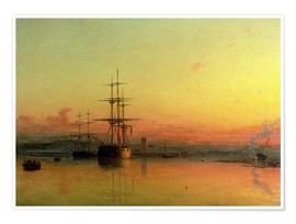 Poster  Dead Calm - Sunset at the Bight of Exmouth - Francis Danby