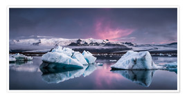 Poster  Eisebergs at Icelands Glacier Lagoon - Andreas Wonisch