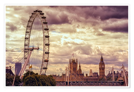 Poster  London Eye & Big Ben - Stefan Becker