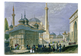 Tableau en verre acrylique  Fountain and Square of St. Sophia, Istanbul - William Henry Bartlett