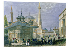 Tableau en PVC  Fountain and Square of St. Sophia, Istanbul - William Henry Bartlett