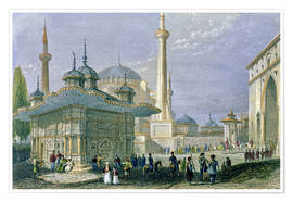 Poster  Fountain and Square of St. Sophia, Istanbul - William Henry Bartlett