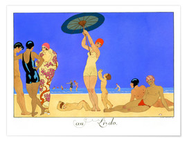 Poster  At the Lido, engraved by Henri Reidel, 1920 - Georges Barbier