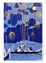 Poster  Feux d'artifice à Venise, Illustration pour Fêtes Galantes - Georges Barbier