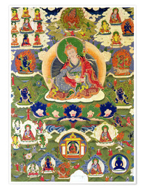 Poster  Thangka of Padmasambhava with thirty-one major and several minor figures depicting Padmasambhava's e - Tibetan School