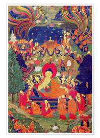 Poster  Thangka of Parinirvana of the Buddha - Tibetan School
