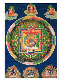 Poster  Thangka of Mandala of Chakrasamvara in fierce form with red Prajna, Vajravarahi, 19th-20th century - Tibetan School