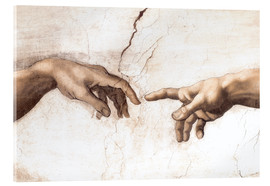 Verre acrylique  Sistin. Chapel: Creation of Adam, detail of hands - Michelangelo