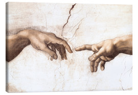 Toile  Sistin. Chapel: Creation of Adam, detail of hands - Michelangelo