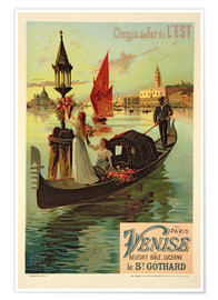 Poster  Reproduction of a Poster Advertising the Eastern Railway from Paris to Venice - Frederic Hugo D´Alesi
