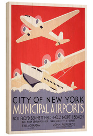 Tableau en bois  Ville de New York - Aéroports municipaux (anglais) - Travel Collection