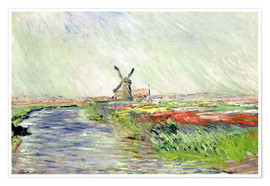 Poster  Tulip Field in Holland - Claude Monet