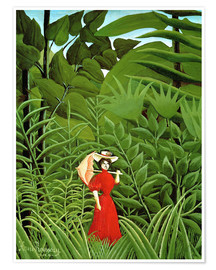 Poster Woman in red in forest