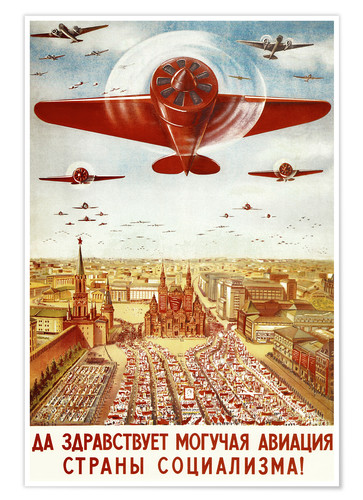 Poster Aircraft parade on Moscow