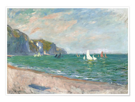 Claude Monet - Boats under the cliffs of Pourville