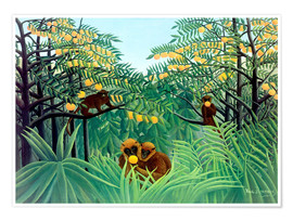 Poster  Singes dans la jungle - Henri Rousseau