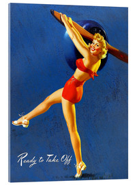Tableau en verre acrylique  Pin Up - Ready to Take Off - Al Buell