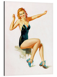 Tableau en aluminium  Pin Up - Seated Redhead in Swimsuit - Al Buell