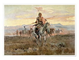 Poster  Chevaux volés, 1911 - Charles Marion Russell