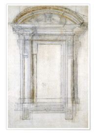 Poster  Study of a Window with a semi-circular gabl - Michelangelo