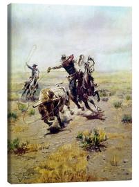 Toile  Cowboy Roping a Steer - Charles Marion Russell