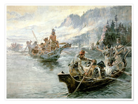 Poster  Lewis & Clark sur le bas Columbia, 1905 - Charles Marion Russell