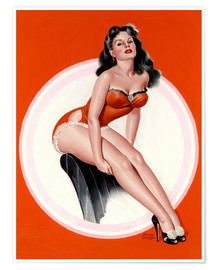 Poster Brunette in Red Bathing Suit