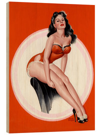 Tableau en bois  Brunette in Red Bathing Suit - Peter Driben