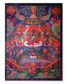 Poster  Thangka depicting Green Tara - Tibetan School