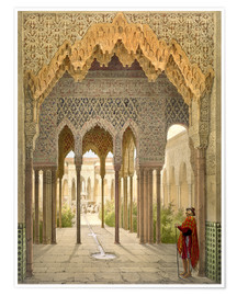 Poster  The Court of the Lions, the Alhambra, Granada, 1853 - Léon Auguste Asselineau