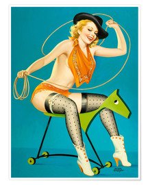 Poster Pin-up sur un cheval en bois