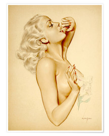 Poster  Girl with a Flower - Alberto Vargas