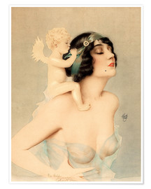 Poster  Girl with angel - Alberto Vargas