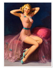 Poster  Pin-up en rose - Art Frahm