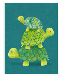 Poster  Pile de tortues - Lindsey Rounbehler