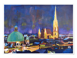 Poster  Vienna Skyline at Night with St Stephan - M. Bleichner