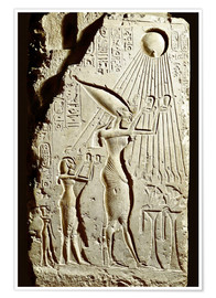 Poster  Pharaoh Akhenaten pays homage to the sun god Aten