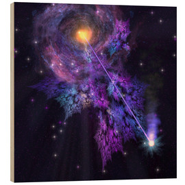 Tableau en bois  A shooting star radiates out from a black hole in the center of a galaxy. - Corey Ford