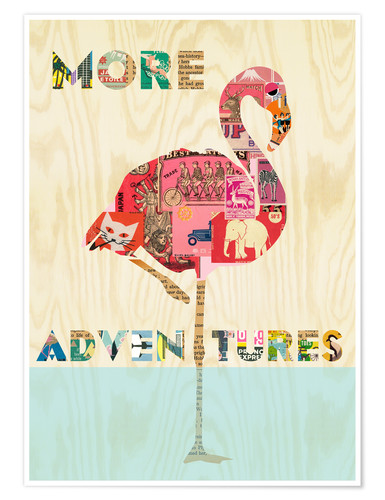 Poster Collage flamant rose