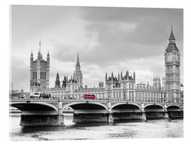 Tableau en verre acrylique  Westminster bridge with look at Big Ben and House of parliament - Edith Albuschat
