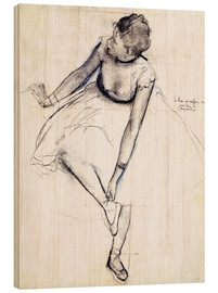 Bois  Danseuse attachant son chausson - Edgar Degas