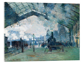 Verre acrylique  Gare de Saint Lazare: the train from Normandy - Claude Monet