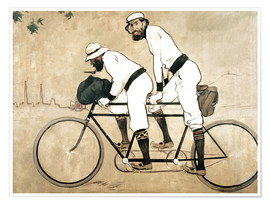 Poster  Casas and Romeu on a tandem - Ramon Casas i Carbo