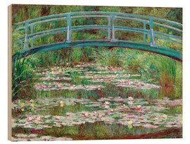 Tableau en bois  Nympheas blancs - Claude Monet