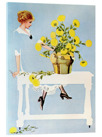 Tableau en verre acrylique  Housekeeper with bouquet - Clarence Coles Phillips