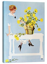 Tableau sur toile  Housekeeper with bouquet - Clarence Coles Phillips