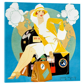 Verre acrylique  traveling Lady - Life magazine 1927 - Clarence Coles Phillips