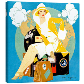 Toile  traveling Lady - Life magazine 1927 - Clarence Coles Phillips