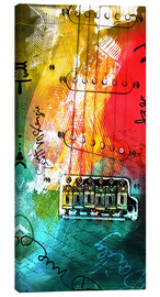 Toile  guitar music colorful collage rock n roll - Michael artefacti